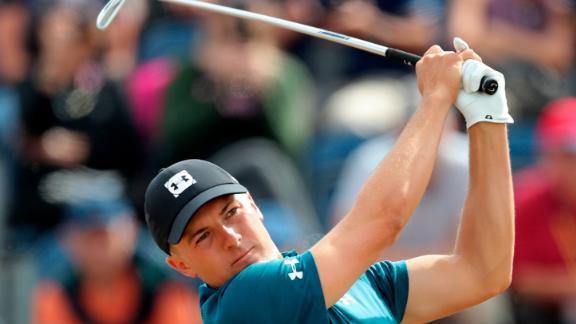 Spieth tees off the third hole Saturday.