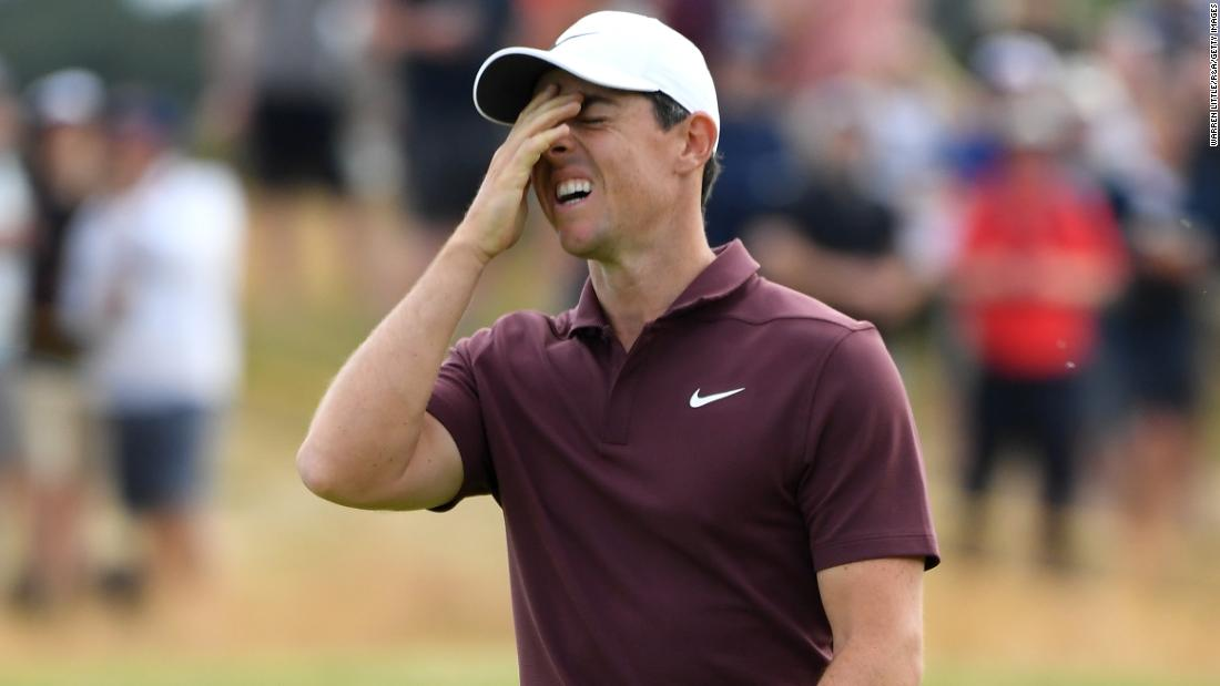McIlroy reacts to a missed eagle putt on Saturday.