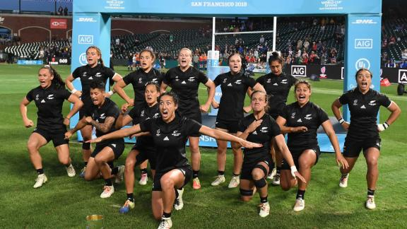 The Black Ferns perform the haka after winning the World Cup in San Francisco.