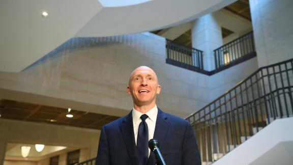 WASHINGTON, DC - NOVEMBER 02:  Carter Page, former foreign policy adviser for the Trump campaign, speaks to the media after testifying before the House Intelligence Committee on November 2, 2017 in Washington, DC. The committee conducting an investigation into Russia's tampering in the 2016 election.  (Photo by Mark Wilson/Getty Images)