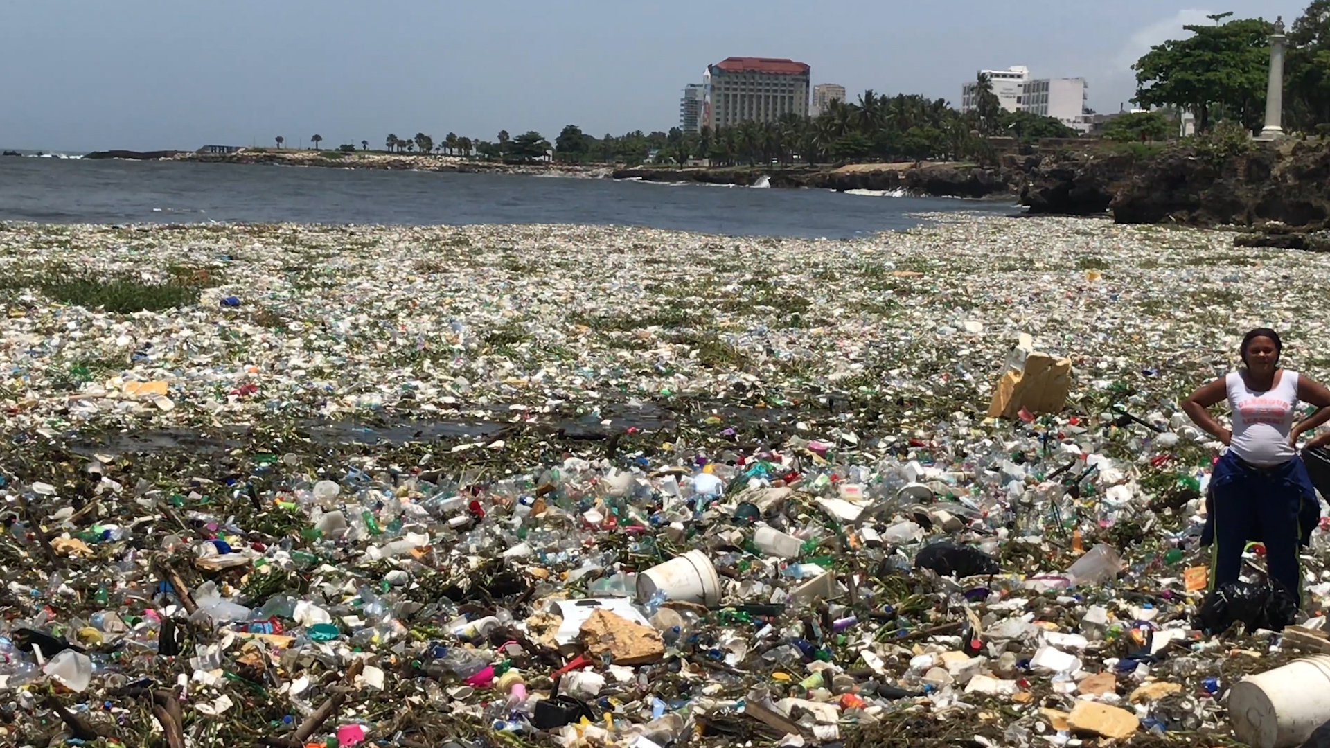 Image result for dominican republic waves of trash