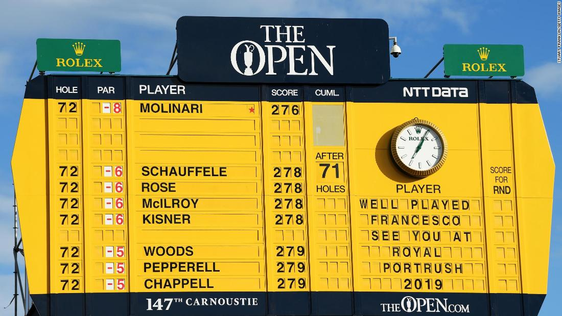 A look at the final Open leaderboard and its traditional note of congratulations.