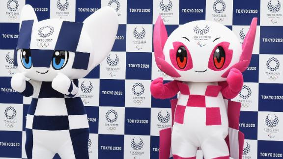 The Tokyo 2020 mascots, Miraitowa (L) and Someity (R), unveiled.