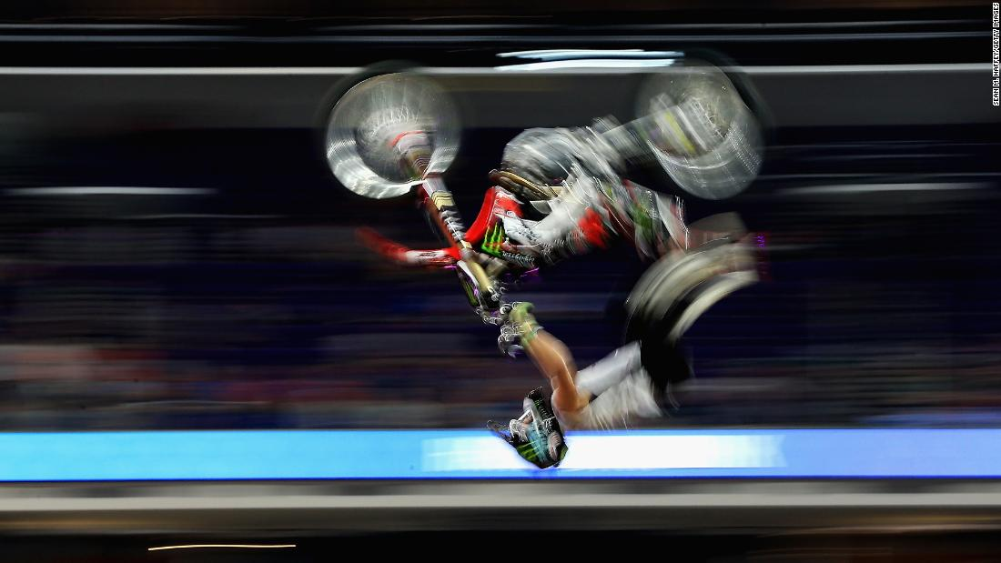 Harry Bink competes in the Moto X Freestyle final at the X Games in Minneapolis on Friday, July 20.