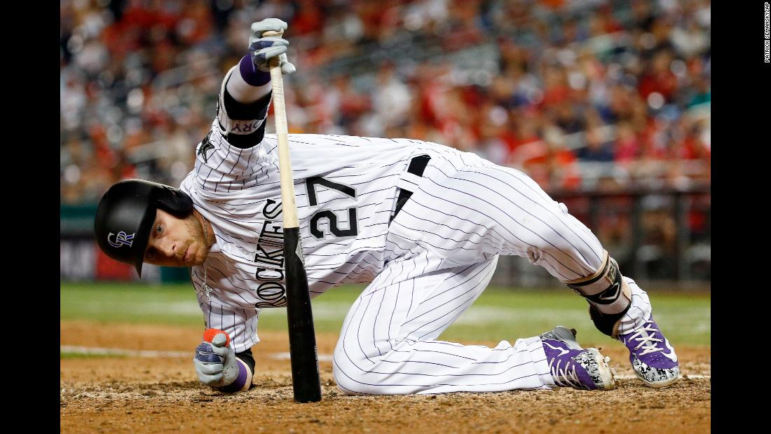 Colorado's Trevor Story had to hit the deck to avoid a wild pitch at the All-Star Game on Tuesday, July 17.