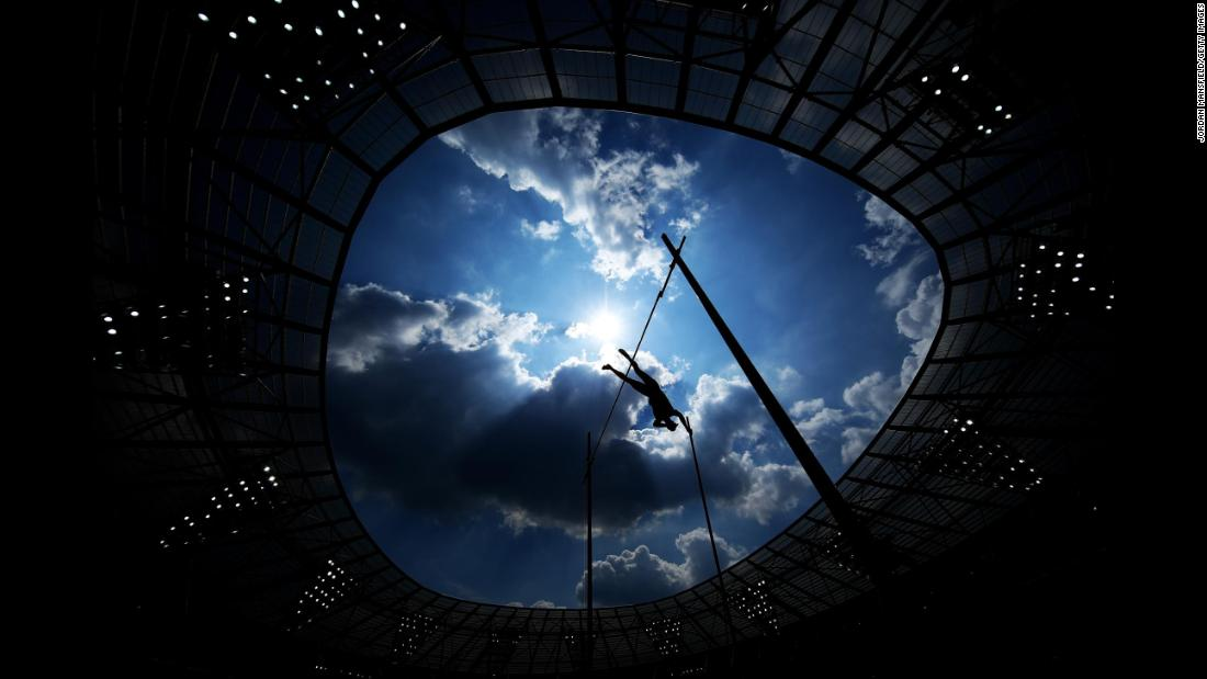 Pole vaulter Scott Houston competes at London Stadium  during the Muller Anniversary Games on Saturday, July 21.