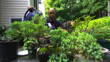 Tony Wright tends his garden every day, two years after receiving horticultural therapy.