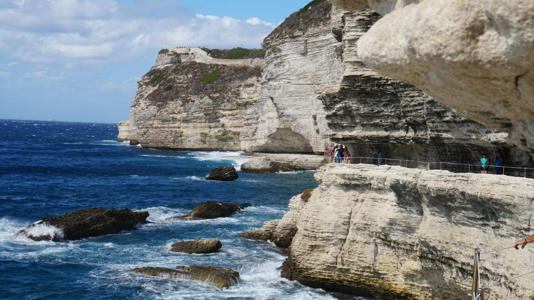 A path has been carved into the famous cliffs of Bonifacio.
