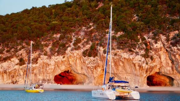 The anchorage in Sardinia, famous for the caves that stretch along the coastline of the Gulf of Orosei on the Island