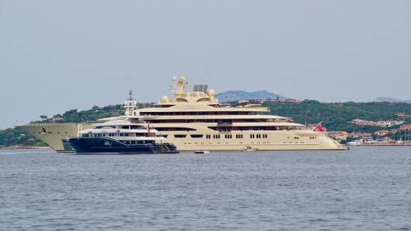 Dilbar is the fourth biggest yacht in the world boasting a staff of 80 and a helicopter. It is just one of the superyachts that converge on the Costa Smeralda in summer.