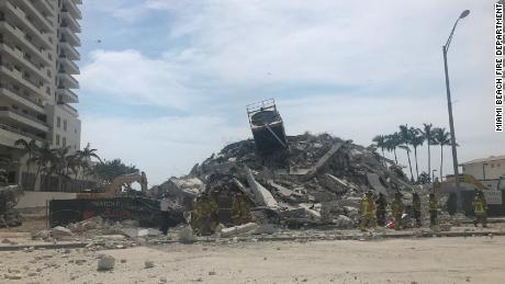 Miami Beach Fire Department posted an image of the collapsed building on Monday.