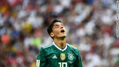 Özil reacts during Germany's last World Cup group match against South Korea. The champions lost 2-0 and crashed out of the tournament.