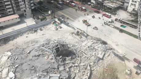Miami Beach Police shared this overhead image of the collapsed building.