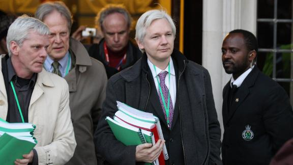 Assange leaves the Supreme Court in February 2012. In May of that year, the court denied his appeal against extradition.