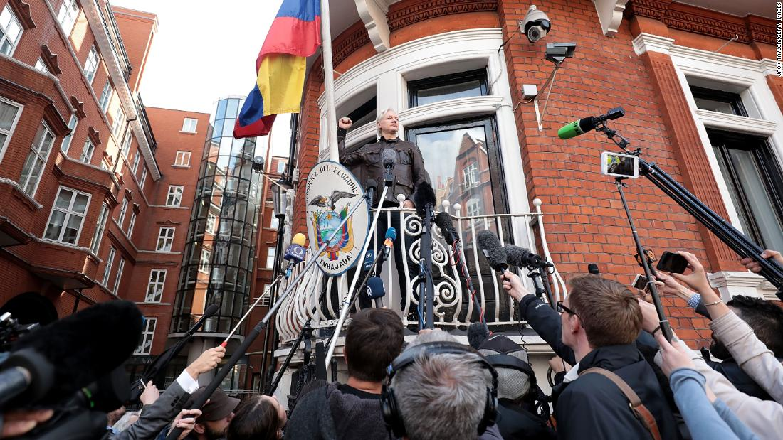 "Assange speaks to the media in May 2017, after Swedish prosecutors had dropped their investigation of rape allegations against Assange. But Assange acknowledged he was unlikely to walk out of the embassy any time soon. ""The UK has said it will arrest me regardless,"" he said. ""The US CIA Director (Mike) Pompeo and the US attorney general have said that I and other WikiLeaks staff have no ... First Amendment rights, that my arrest and the arrest (of) my other staff is a priority. That is not acceptable."""