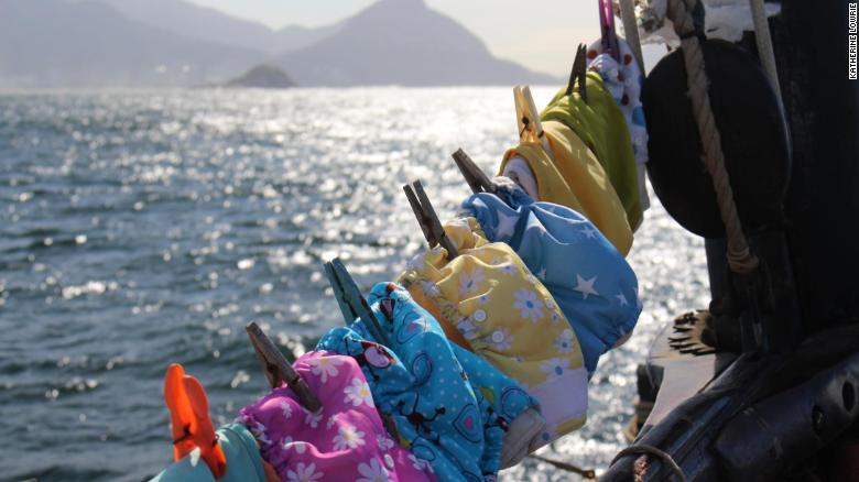 Theo's reusable nappies drying aboard Lista Light, off the coast of Rio de Janeiro.