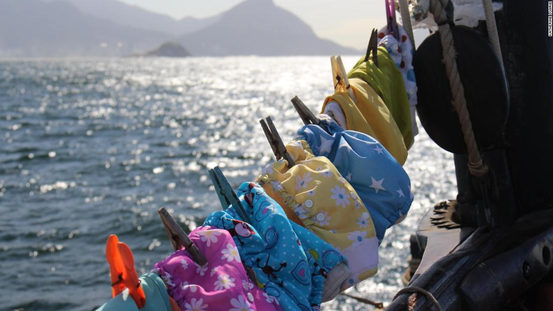 "Theo's reusable nappies drying aboard the boat. ""They dried very quickly in hot climates,"" said Katharine. ""Conventional nappies don't really work as most boats don't have enough space to store them and also they stink!"""