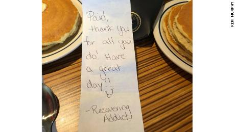 A recovering addict secretly paid for several EMTs' breakfasts at an IHOP in Toms River, New Jersey.