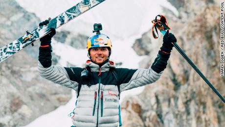 Andrzej Bargiel has become the first person to ski down from the summit of K2 which stands at 8,611 m (28,251 ft).