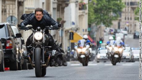 "Tom Cruise in a scene from ""Mission: Impossible -- Fallout."""