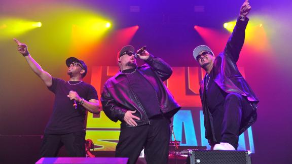 "Adam Emil, left, Bryan Abrams, center, and Mark Calderon of Color Me Badd perform at the ""I Love the 90s"" concert on September 29, 2017 in London."