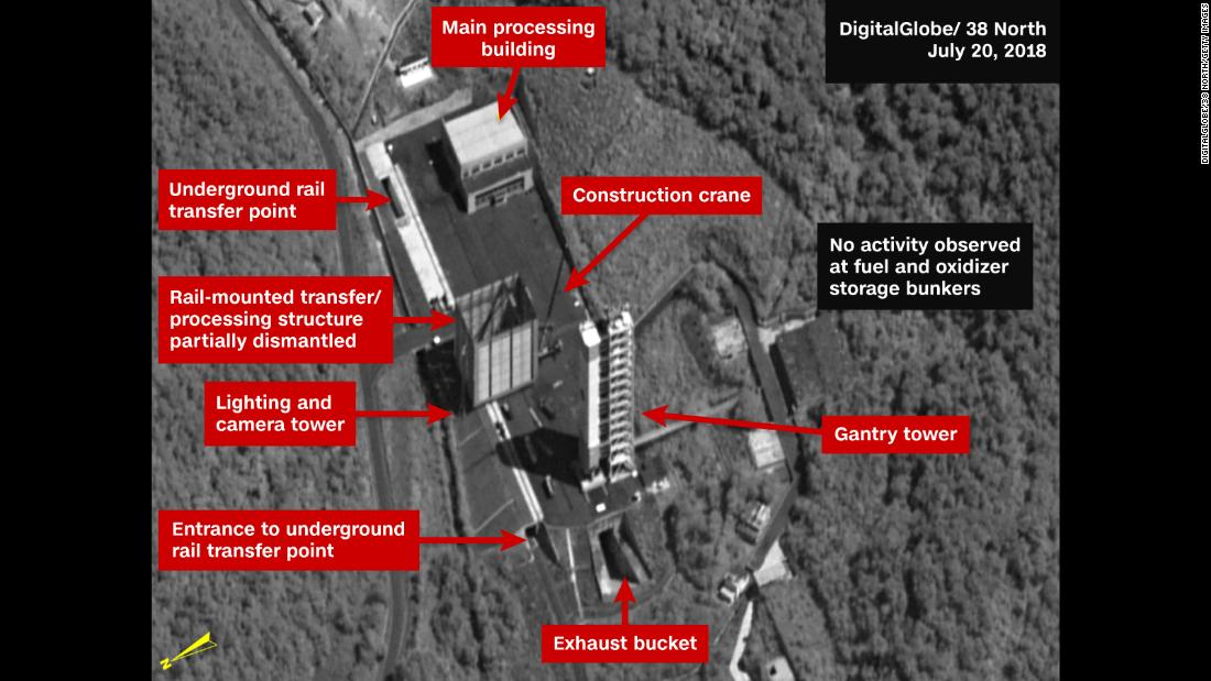SOHAE SATELLITE LAUNCH PAD, NORTH KOREA - JULY 20, 2018:  Figure 1. By July 20, dismantlement had begun of the rail-mounted transfer structure on the Sohae launch pad.  Mandatory credit for all images: DigitalGlobe/38 North via Getty Images