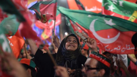 Supporters of Imran Khan at a rally in Lahore on Monday.