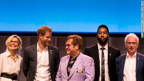 Elton John and Prince Harry appeared on stage together during the AIDS conference.