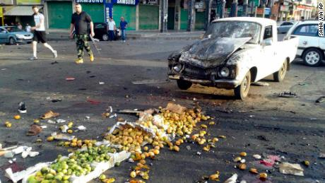One of the attacks hit a market selling fruit and vegetables.