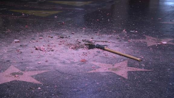Donald Trump's Walk of Fame star was destroyed early Wednesday morning.