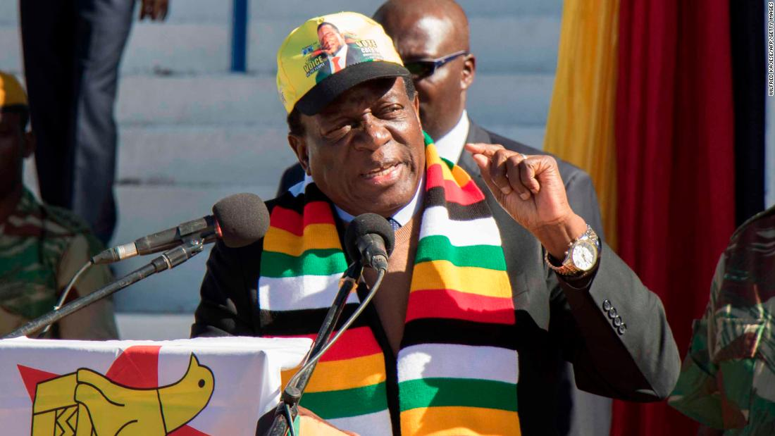 Zimbabwean President Emmerson Mnangagwa addresses a meeting attended by farmers and businessmen from the Zimbabwean White community ahead of this month's elections.