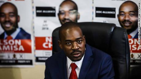 Zimbabwe's Movement for Democratic Change (MDC) party leader Nelson Chamisa at a press conference at the MDC headquarters in Harare on July 17.