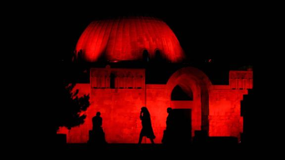 Amman, Jordan: The Citadel archaeological site, in downtown Amman, is illuminated red to celebrate the 50th anniversary of the Special Olympics.