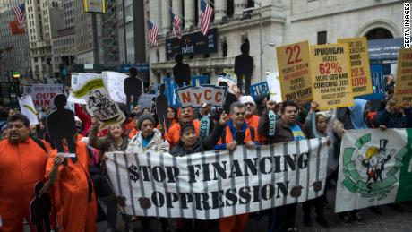 Protesters called on Wall Street to stop bankrolling private prisons at a May Day march in Manhattan.