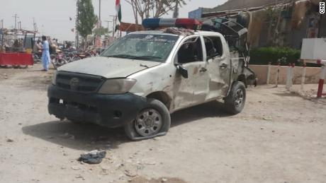 A damaged police vehicle was seen after a manifest militant attack in Baluchistan, Pakistan