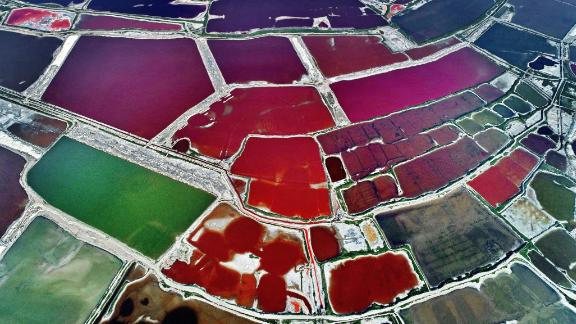 Yungcheng City, China: An abstract-looking, multicolored Salt Lake is spotted over Yuncheng in China