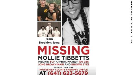 A poster for Mollie Tibbitts seeking information about her whereabouts.