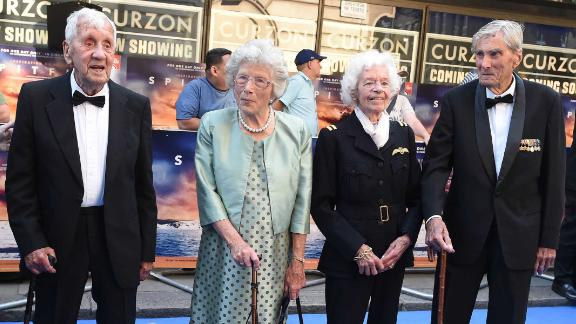 "RAF Veterans Allan Scott, Joan Fanshawe, Mary Ellis and Paul Farnes attend the World Premiere of ""Spitfire"" at the Curzon Mayfair cinema on July 9."