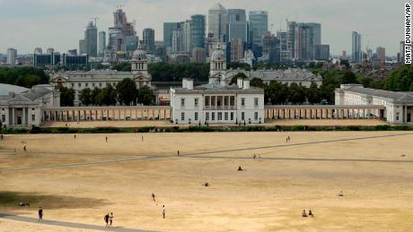 A view shows parched grass from the lack of rain in Greenwich Park during what has been the driest summer for many years in London.