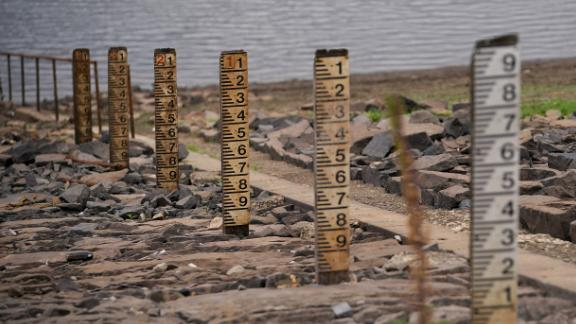 Depth markers show how little water remains in Yarrow reservoir near Bolton in northwest England.