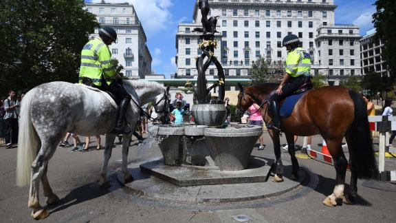 Police officers water their horses at a fountain in London