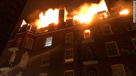 A fire broke out at an apartment building in northwest London in the early hours of July 26, 2018.