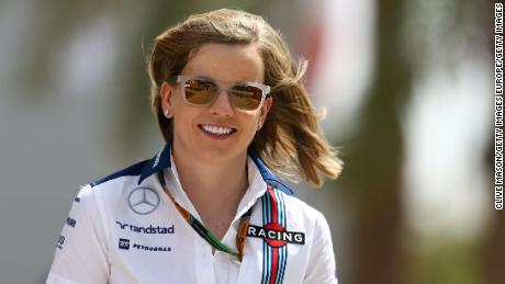 BAHRAIN, BAHRAIN - APRIL 18:  Susie Wolff of Williams walks into the paddock during final practice for the Bahrain Formula One Grand Prix at Bahrain International Circuit on April 18, 2015 in Bahrain, Bahrain.  (Photo by Clive Mason/Getty Images)