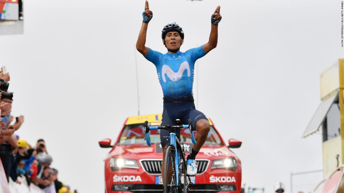 Colombian cyclist Nairo Quintana celebrates after winning the 17th stage on July 25.