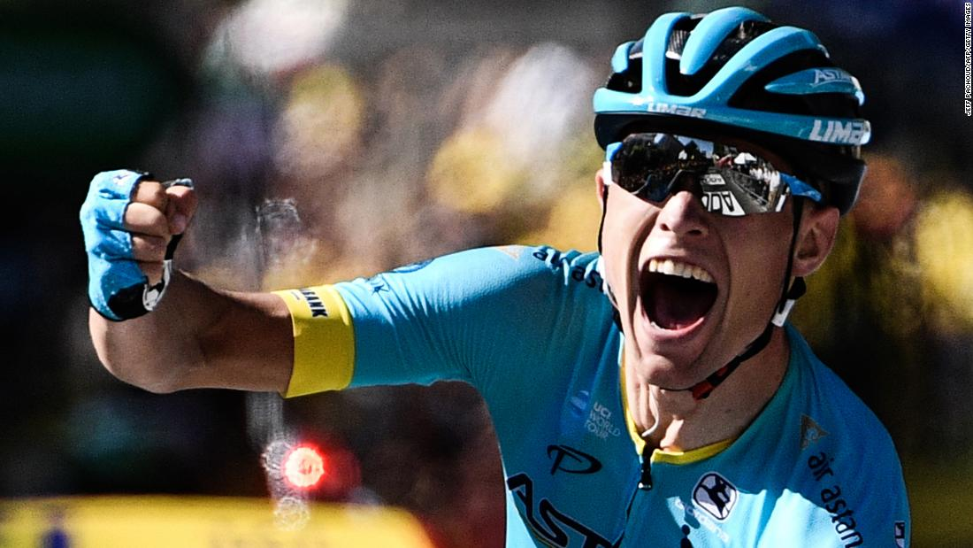 Denmark's Magnus Nielsen celebrates after winning the 15th stage on Sunday, July 22.