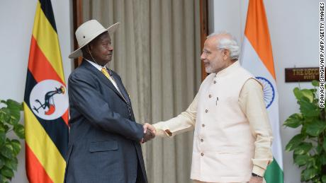 Uganda's President Yoweri Kaguta Museveni (L) shakes hands with India's Prime Minister Narendra Modi during their meeting at the India-Africa Forum Summit in New Delhi on October 28, 2015. The event, postponed since December over the Ebola crisis, is the first under Indian Prime Minister Narendra Modi and is the biggest gathering of foreign dignitaries in the country since 1983 with some 1,000 delegates.    AFP PHOTO / PRAKASH SINGH        (Photo credit should read PRAKASH SINGH/AFP/Getty Images)