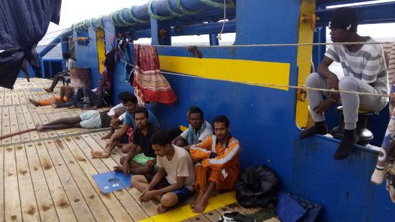 Photos from the Sarost 5, a ship currently stuck at sea with 40 migrants on board, including 2 pregnant women. According to the ship's second captain Amman Ourari, it has been refused entry by Malta, Italy, France and Tunisia. Photos are from the ship's second captain Amman Ourari.