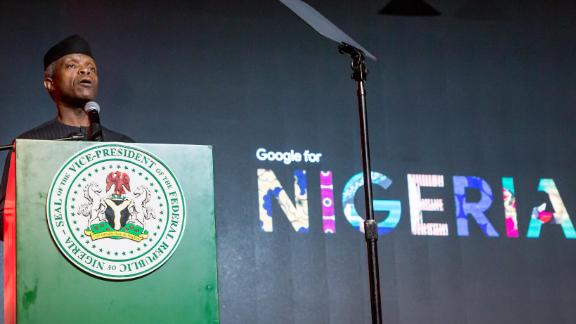 Nigeria's vice president Prof Yemi Osinbajo at the launch of Google Station 'fast Wi-Fi for everyone' initiative in Nigeria on Thursday, July 26, 2018.