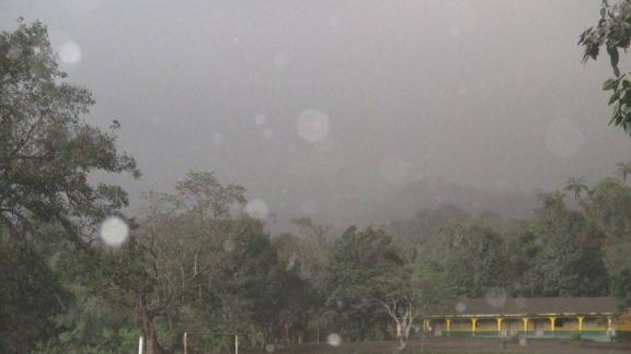 Ash falls from the Manaro Voui on Ambae, Vanuatu. Thousands of residents have been evacuated from the area.