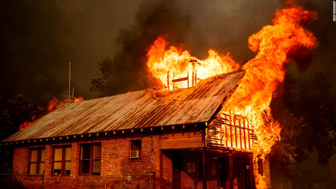 A historic schoolhouse burns in Shasta on July 26.